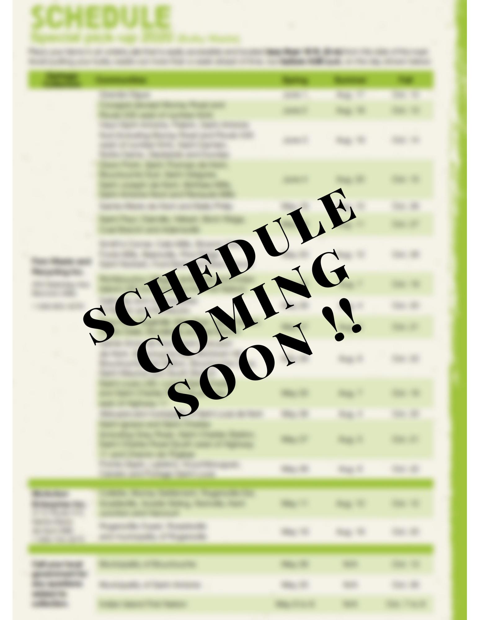 Schedule coming soon!!